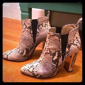 BCBG Max Azaria snakeskin boots
